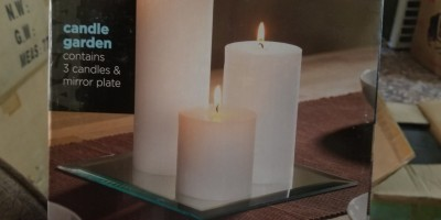 Candle Garden. Set of 3 Pillar Candles on Mirror Stand.